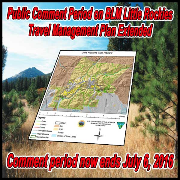 Public Comment Period on BLM Little Rockies Travel Management Plan Extended
