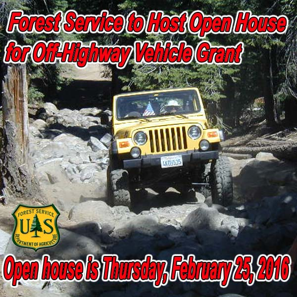 CALIFORNIA - Forest Service to Host Open House for Off-Highway Vehicle Grant