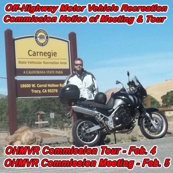 CALIFORNIA - Off-Highway Motor Vehicle Recreation Commission Notice of Meeting a
