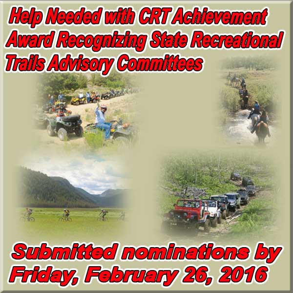 Help Needed with CRT Achievement Award Recognizing State Recreational Trails Adv