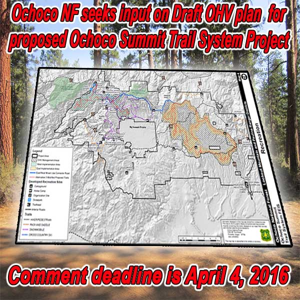 OREGON - Ochoco National Forest Seeks Input on Draft OHV plan