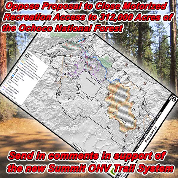 OREGON - Oppose Proposal to Close Motorized Recreation Access to 312,000 Acres o