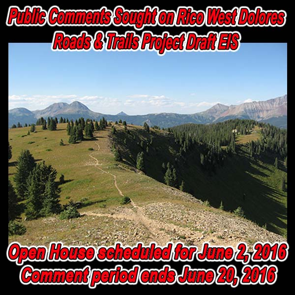 Public Comments Sought on Rico West Dolores Roads & Trails Project Dr