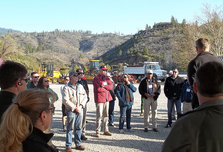 BLM staff give overview of Chappie Shasta OHV Area to General Jackson (tan ball cap) and other stakeholders.